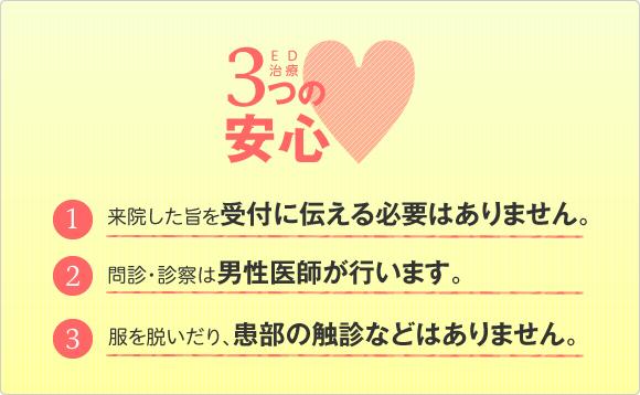 【京都・堀川御池】友愛診療所(総合内科  経鼻胃・大腸内視鏡検診センター)のED治療3つの安心